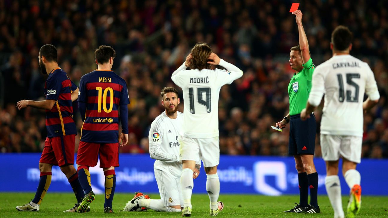Sergio Ramos red card record at Real Madrid: All 25 sendings off