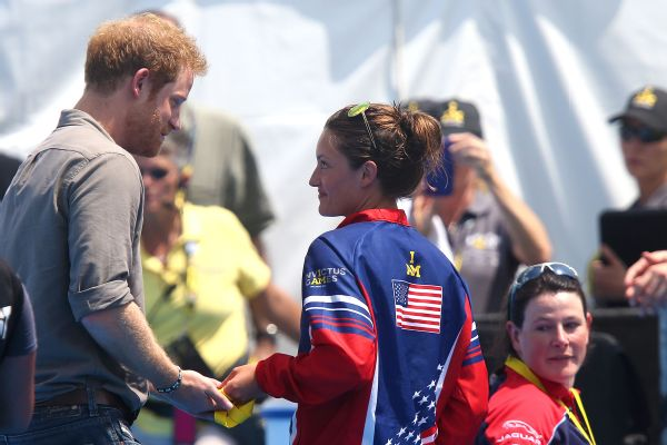 Marks gives back her Invictus Games gold medal to Prince Harry to take to the hospital that saved her life when she came down with a rare lung disease in 2014.