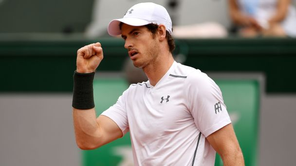 Andy Murray of Great Britain celebrates during the Men's Singles third round match against Ivo Karlovic