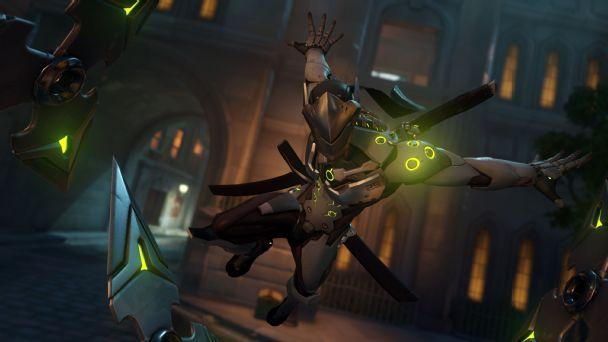 Genji flies through the air in Overwatch.