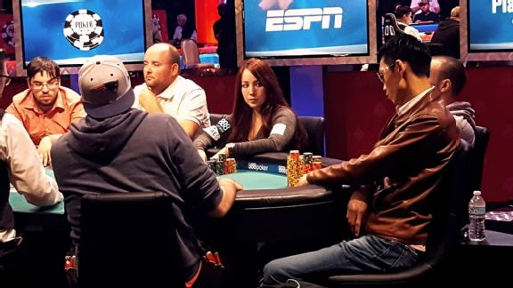 Tim Fiorvanti/ESPN Melanie Weisner was chip leader for parts of Day 4 in the 2016 WSOP main event, and a late surge helped put her back in the top 10