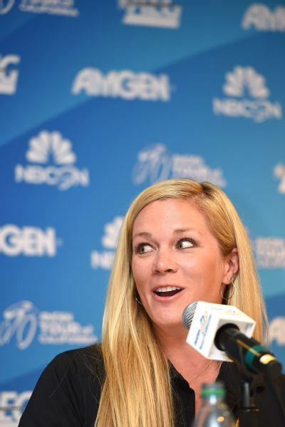 Alison Tetrick speaks at a press conference ahead of the 2015 AMGEN Tour of California Women's Race Empowered by SRAM on May 7, 2015 in South Lake Tahoe, California.