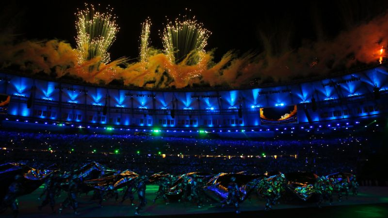 Dancers perform during the opening ceremony at the Maracana Stadium in Rio.