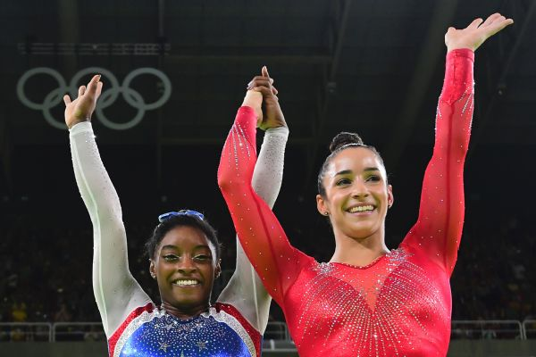Simone Biles and Aly Raisman are just the second pair of American gymnasts to sweep the top two spots in the all-around.