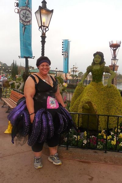 Latria Graham at her first costume-themed 5K (in February 2013), where she dressed as Ursula from The Little Mermaid.