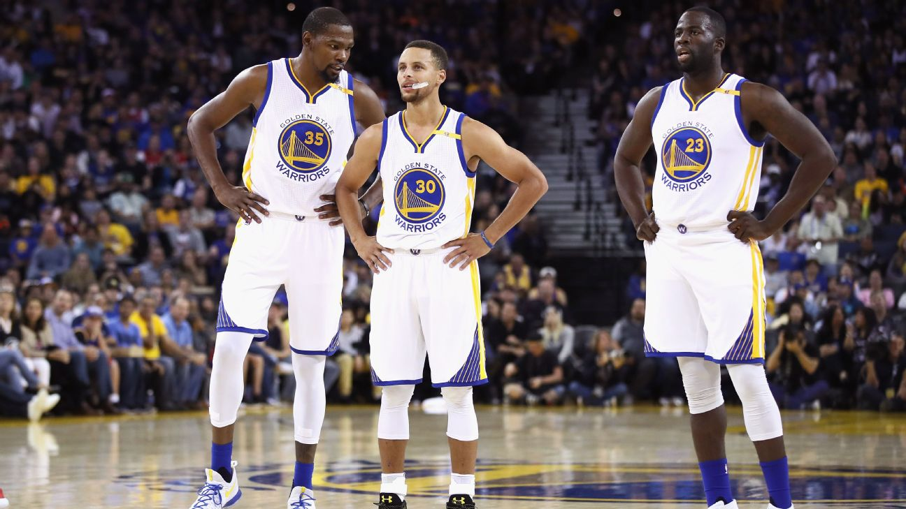Kevin Durant, Stephen Curry and Draymond Green