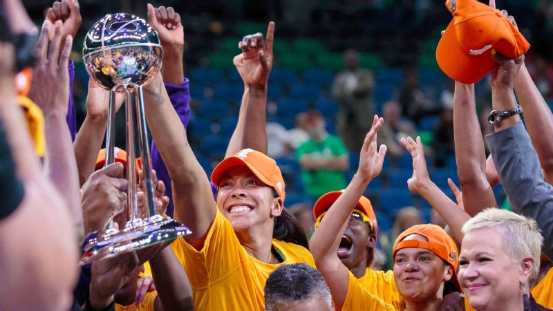 Los Angeles Sparks forward Candace Parker celebrates winning the WNBA championship against the Minnesota Lynx in Game 5 of the WNBA Finals.