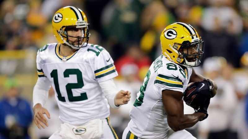 Aaron Rodgers is used to hitting receiver Ty Montgomery through the air, but due to injuries in the backfield, Montgomery has been taking numerous handoffs as well, rushing nine times for 60 yards against the Bears on Thursday.