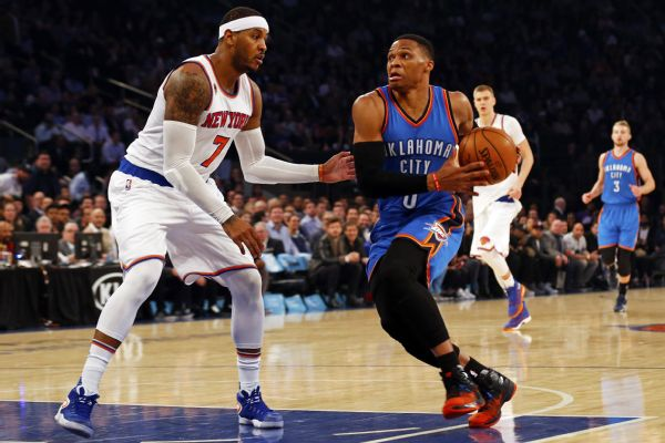 NBA Score: Oklahoma City Thunder Defeat New York Knicks, Russell Westbrook Dominates
