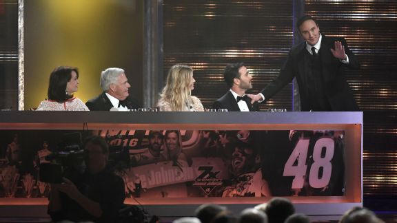 Host Jay Mohr kept things serious when congratulating Jimmie Johnson on his seventh Sprint Cup championship Friday night in Las Vegas.