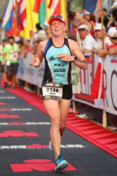 Kelly O'Mara finishing her first Ironman World Championship in Kona last fall.