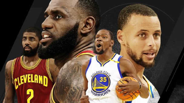 Stephen Curry, Kevin Durant, James LeBron and Kyrie Irving