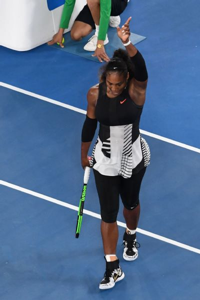 Serena Williams reacts after winning her 23rd Grand Slam title at the Australian Open.