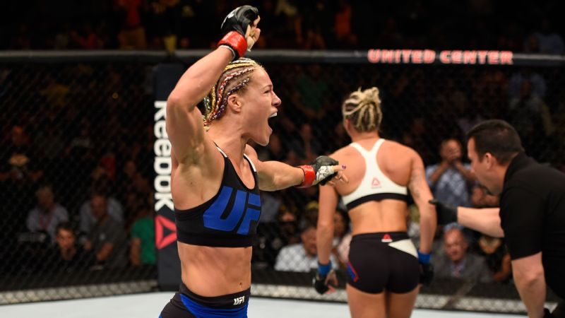 Herrig celebrated after defeating Kailin Curran by submission in their women's strawweight bout during the UFC Fight Night in July.