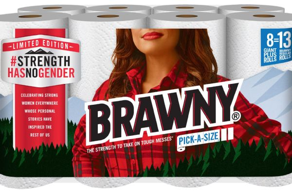 Brawny has replaced the traditional Brawny Man for the month of March with a woman.