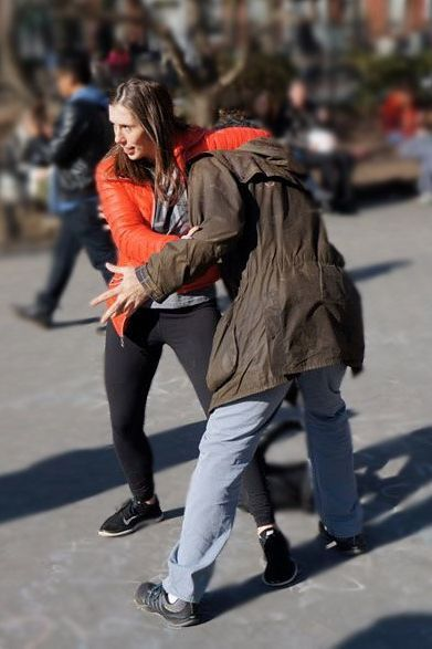 Piazza demonstrates a guillotine choke at the 2015 Hollaback! Anti-Street Harassment Rally in New York City.