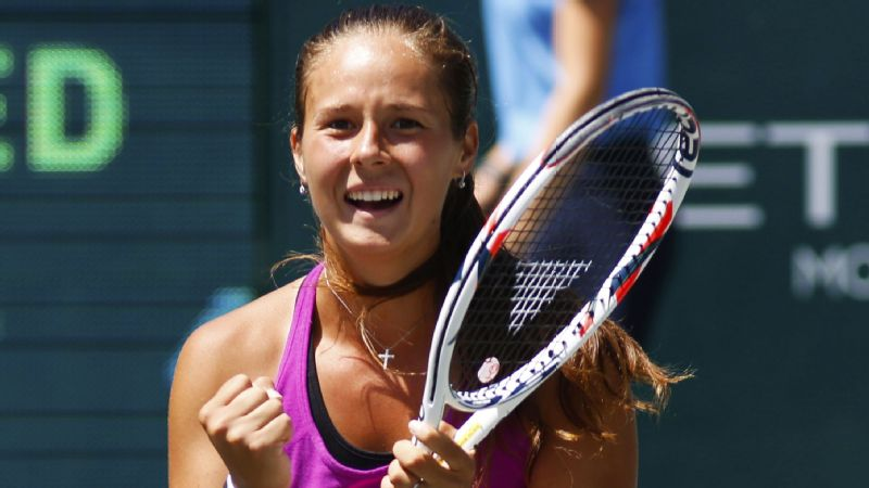 Daria Kasatkina celebrates her first WTA win after beating Jalena Ostapenko in the Volvo Car Open on Sunday.