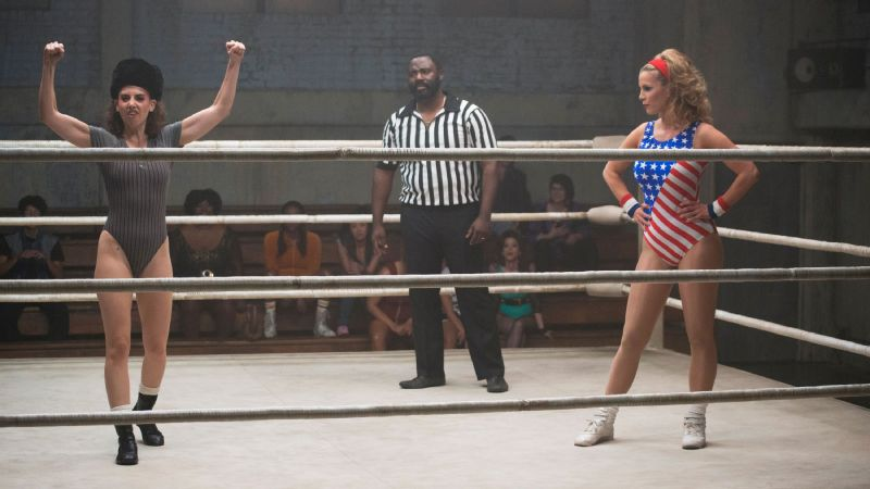 GLOW is an ensemble cast, but the central conflict and major driving force behind the first season of the show is the complicated relationship between Alison Brie's Ruth Wilder (left) and Betty Gilpin's Debbie Egan.