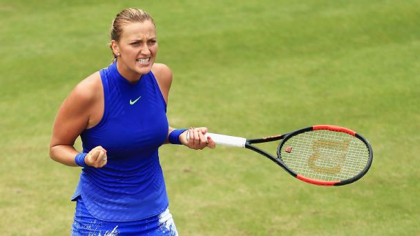 Petra Kvitova of the Czech Republic celebrates victory after the Women's Singles final match against Ashleigh Barty.