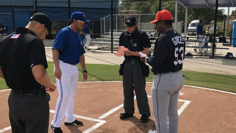 Emma Charlesworth-Seiler, center, is the second woman to umpire in the Gulf Coast League in two years, following Jen Pawol in 2016.