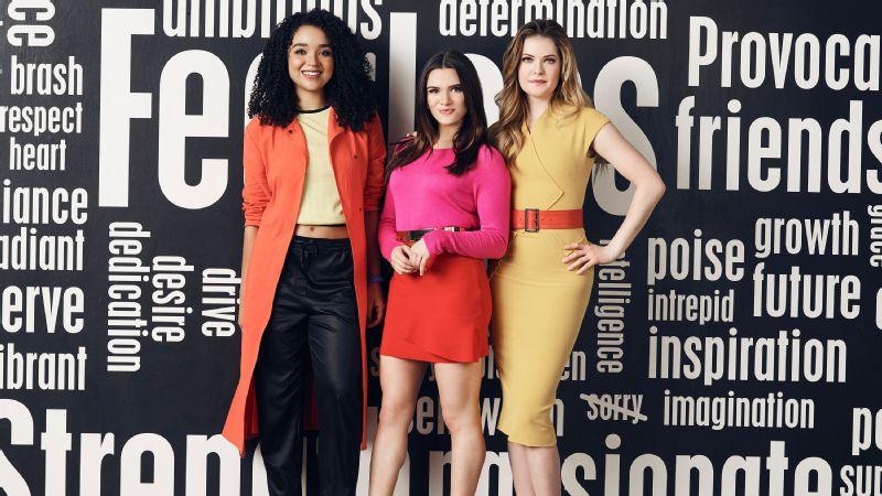 Freeform's The Bold Type stars Aisha Dee as Kat Edison, left, Katie Stevens as Jane Sloan, center, and Meghann Fahy as Sutton Brady.