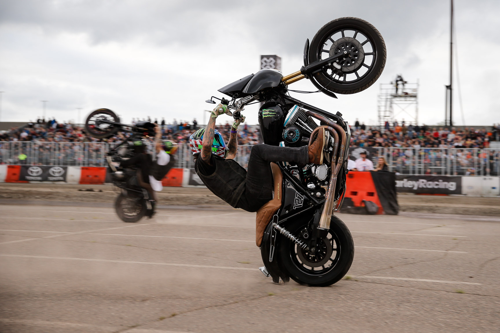 Based in Northern California, UNKNOWN Industries is a team of dedicated Harley riders who found a passion doing stunts on their Harley-Davidsons. They fired up the crowd before the start of Harley-Davidson Flat Track races on Thursday night in Minneapolis.