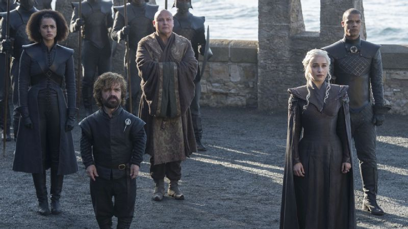 Catch up with Missandei (Nathalie Emmanuel), far left, Tyrion Lannister (Peter Dinklage), left, Lord Varys (Conleth Hill), center, Daenerys Targaryen (Emilia Clarke), right, or Grey Worm (Jacob Anderson) on the forthcoming season of Game of Thrones.