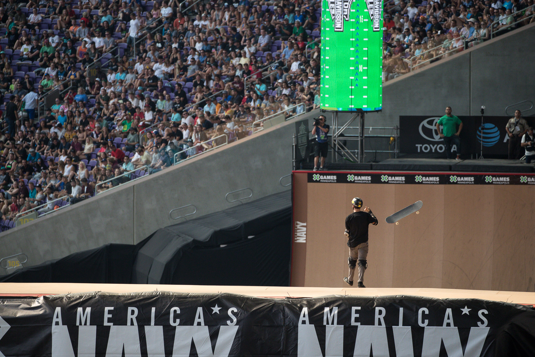 Elliot Sloan is no stranger to Big Air, but his all-or-nothing approach to skating Big Air doesn't always land him in the top position. That all changed at X Games Minneapolis, when Sloan landed a dream run: A 720 Indy grab over the jump to a 900 Indy grab on the quarterpipe. The run placed him into gold-medal position for the remainder of the competition.