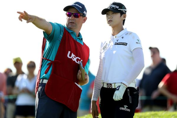 Sung Hyun Park of Korea and her caddie David Jones