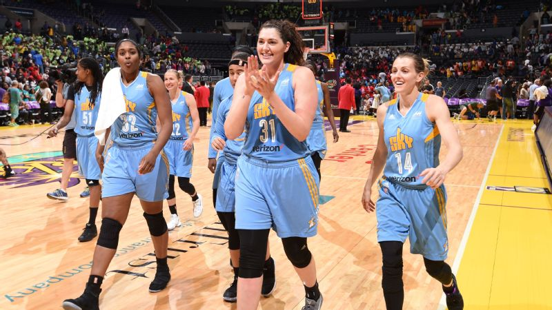 Stefanie Dolson #31, Courtney Vandersloot #22 and Cheyenne Parker #32 of the Chicago Sky celebrate a win against the Los Angeles Sparks on July 20, 2017 at the STAPLES Center in Los Angeles, California.