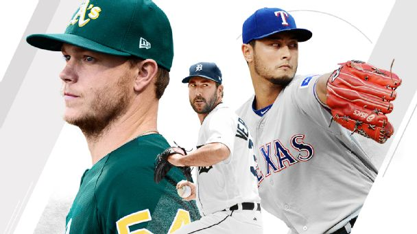 Sonny Gray, Justin Verlander and Yu Darvish