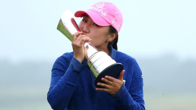 While she showed little emotion after sinking the final putt, I.K. Kim was ecstatic once she got the trophy in her hands.