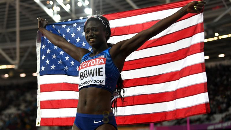Tori Bowie became the first U.S. woman to win the 100-meter world title since Carmelita Jeter in 2011.