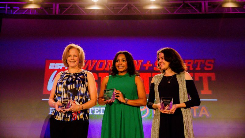 Toyota Everyday Heroes' recipients Beth Devine, left, Tracy Pointer and Courtney Payne-Taylor during the 2016 espnW: Women  Sports Summit in Dana Point, California.