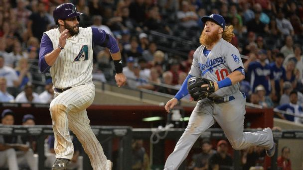 Justin Turner, J.D. Martinez, Los Angeles Dodgers, Arizona Diamondbacks
