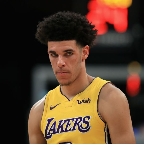 Lonzo Ball scores first basket, a 3-pointer