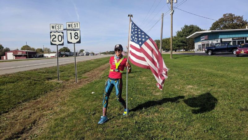 Sandra Villines ran 3,125 miles through 12 states -- averaging 57 miles a day. This picture was taken on Day 46, in in Bellevue, Ohio.