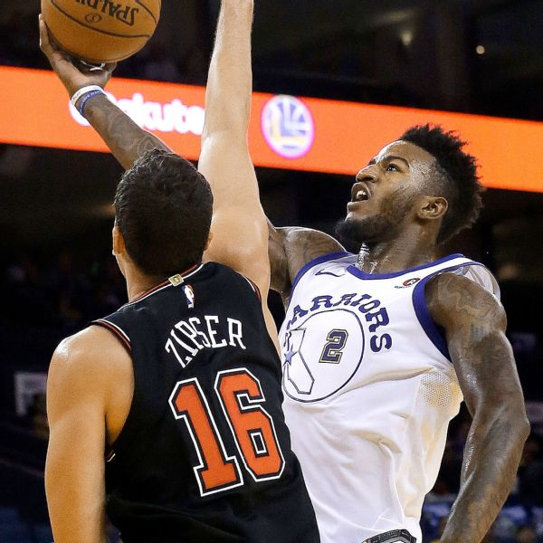 Warriors' Jordan Bell leaves game in wheelchair after getting dunked on