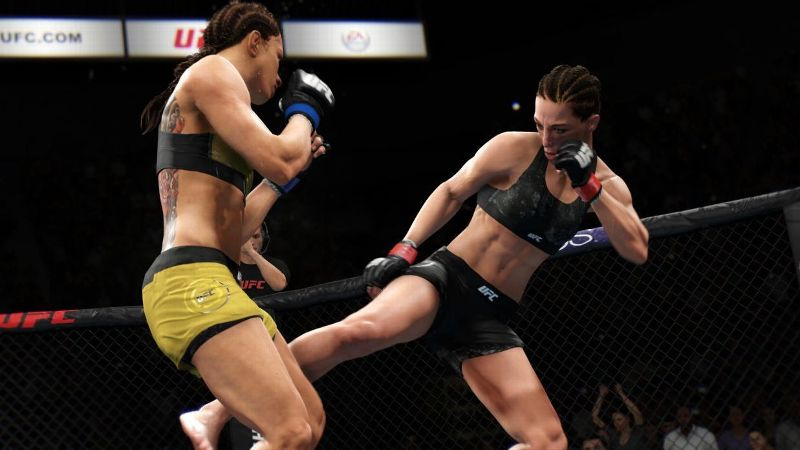 There is a mural of Joanna Jedrzejczyk fighting Claudia Gadelha on a wall in the EA SPORTS offices. These are two of the many female fighters featured in UFC 3.
