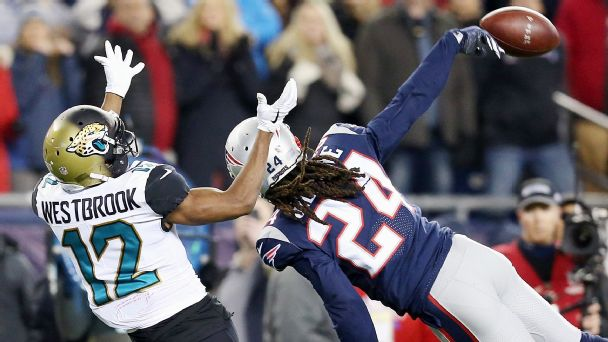 Jaguars vs. Patriots (Stephon Gilmore breaks up pass on 4th down )