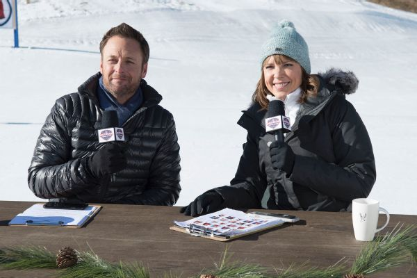 ESPN's Hannah Storm and Chris Harrison host Bachelor Winter Games.