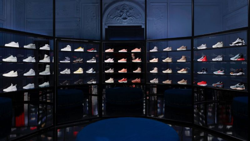 The interior of Nike's Unlaced concept space in Paris.