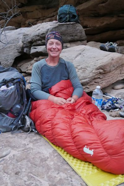 Arlette Laan sleeping out at the Grand Canyon.