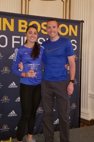 Sarah Sellers with her husband, Blake, in Boston after the marathon.