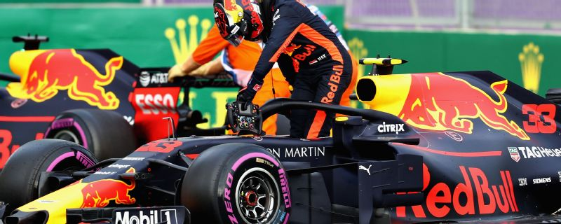 Max Verstappen and Red Bull teammate Daniel Ricciardo collided while battling for fourth in the Azerbaijan Grand Prix.