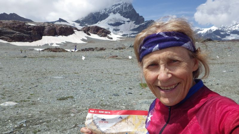 Sharon Crawford, during an orienteering multi-day event in Switzerland at the foot of the Matterhorn.