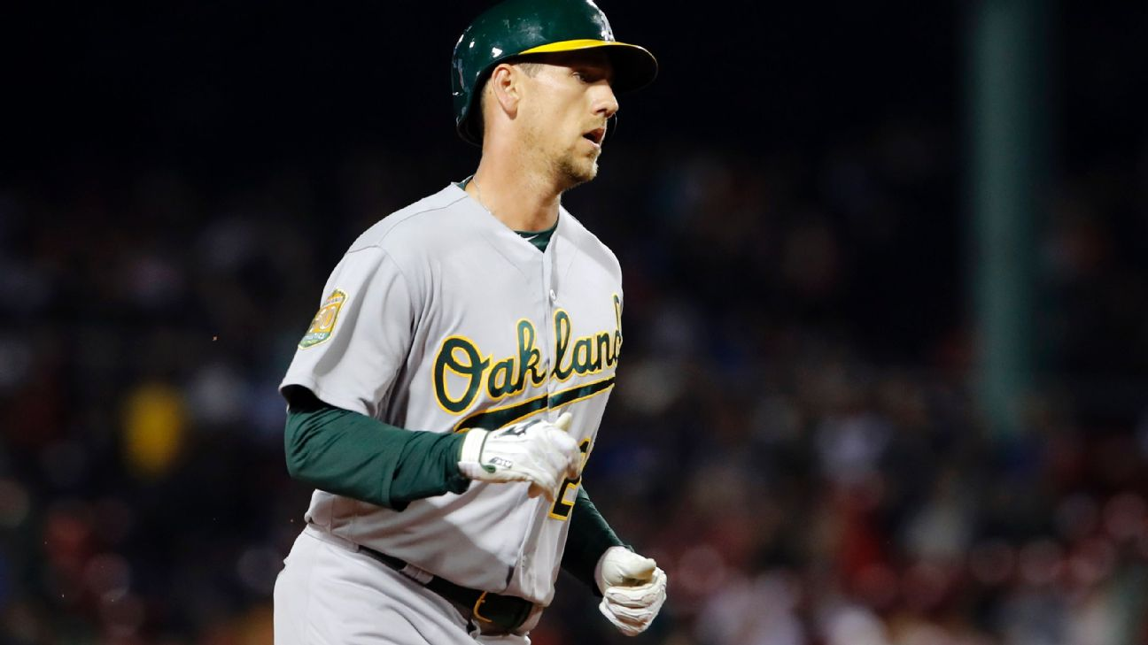 Athletics' Piscotty homers in first at-bat since mother's funeral