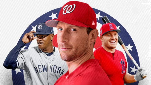 Max Scherzer, Mike Trout and Luis Severino