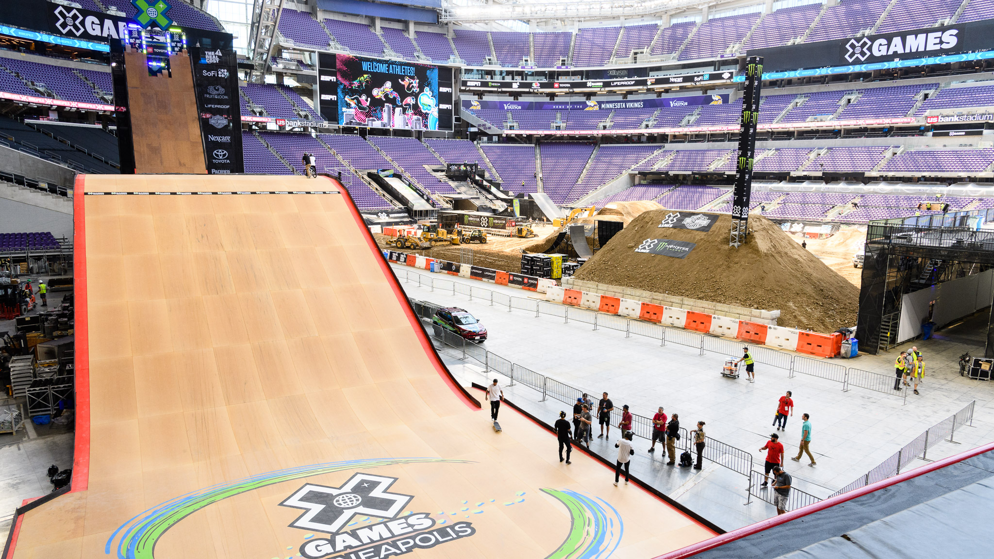 This is the view from the deck of the Big Air quarterpipe, showcasing the size of the Big Air ramp and U.S. Bank Stadium.