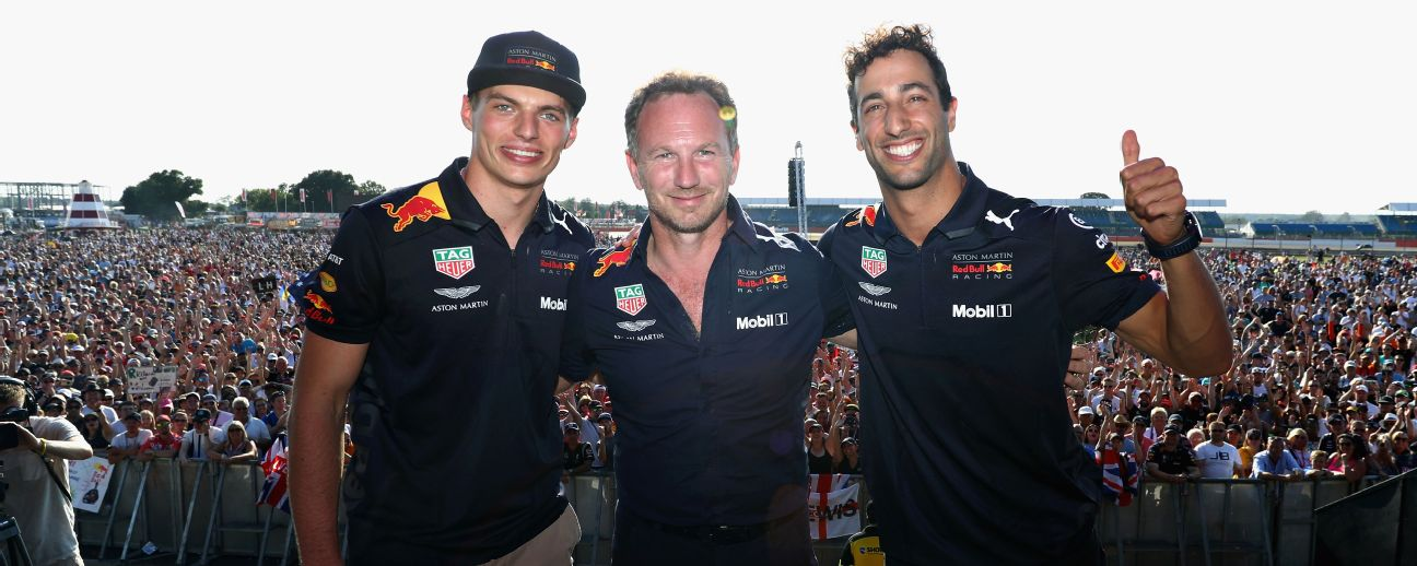 Daniel Ricciardo, Max Verstappen and Red Bull Racing Team Principal Christian Horner.